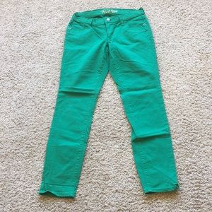 Old Navy the Rock Star bright green skinny jeans 8